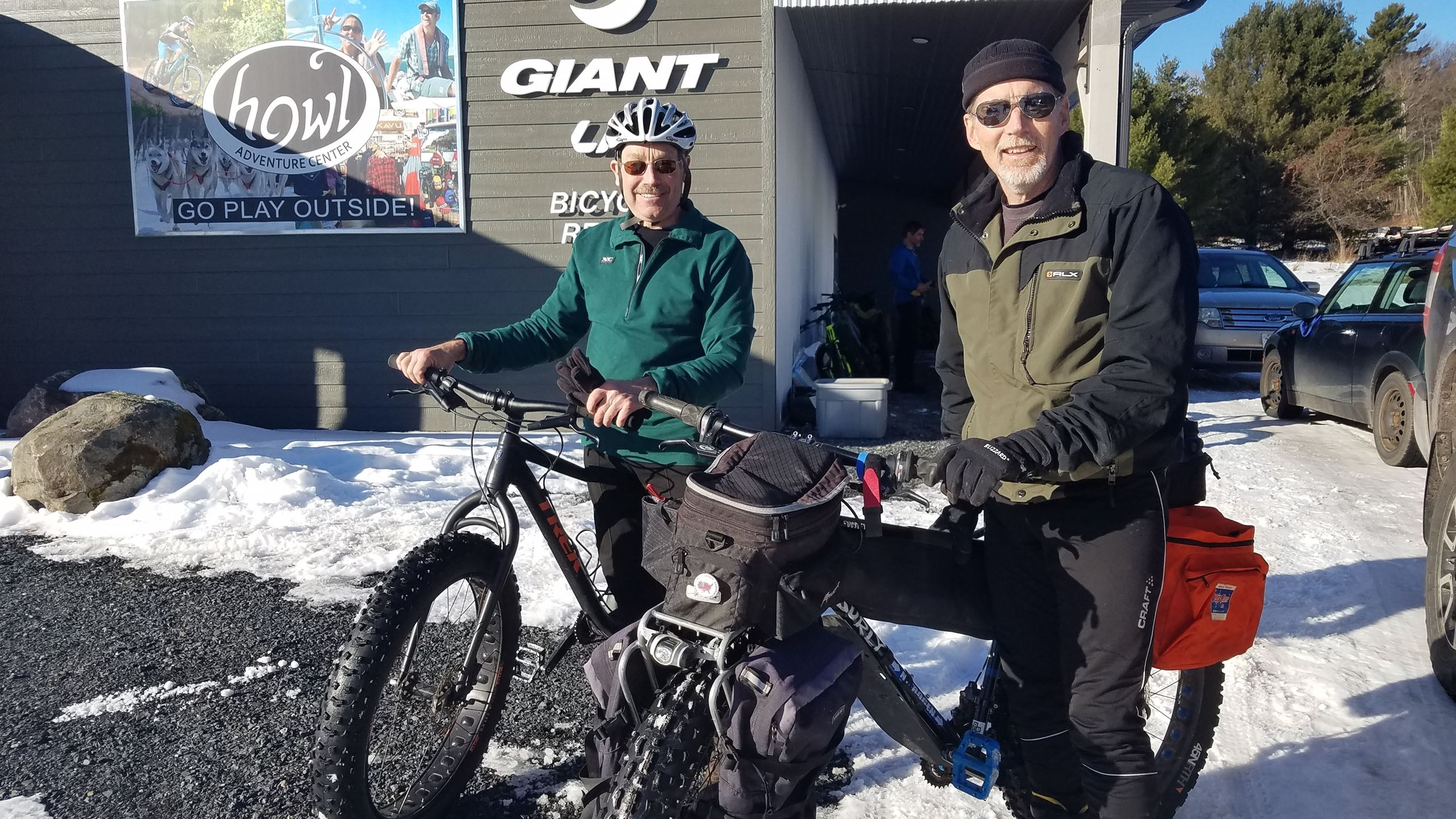 Groshek and Murphy with fat bikes